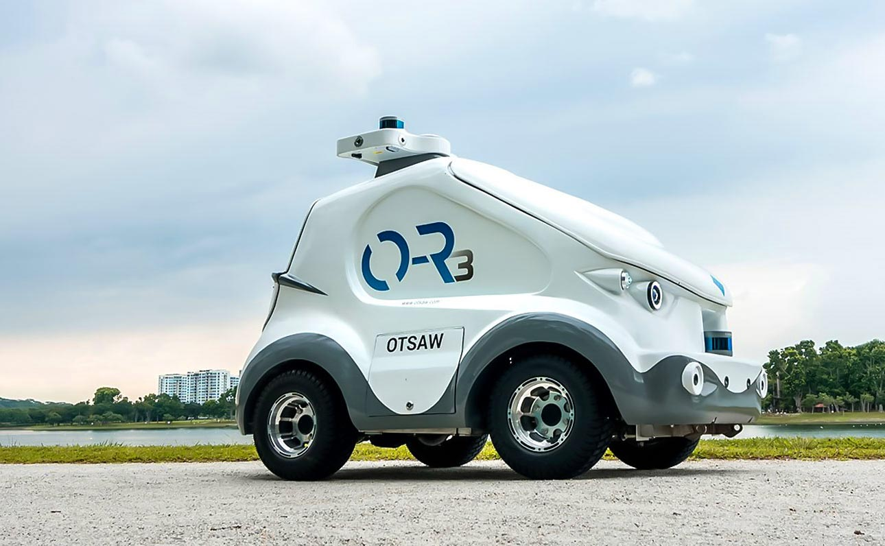 OTSAW Security robot patrols a park in Singapore