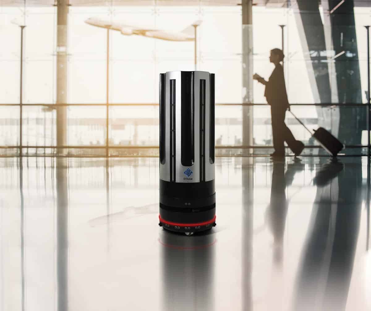 Disinfection robot patrols an airport