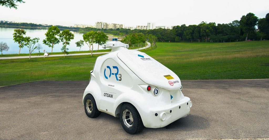 OTSAW O-R3 security robot patrols parks and open spaces